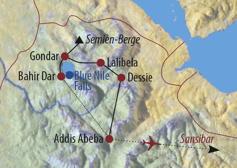 Äthiopien: Karte und Tourenverlauf Kulturreise und Baden auf Sansibar