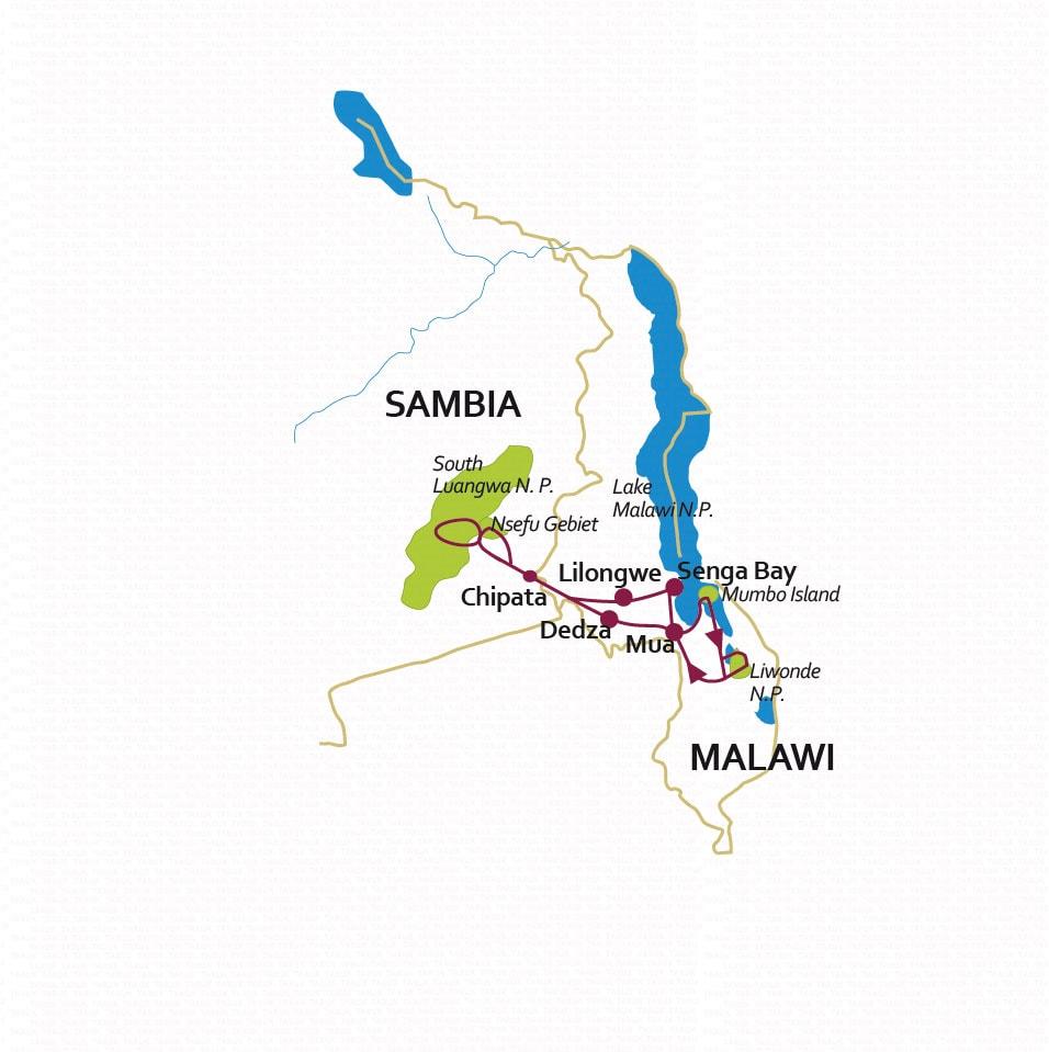 Botswana: Karte und Tourenverlauf Rundreise Sambesi und Malawi-See