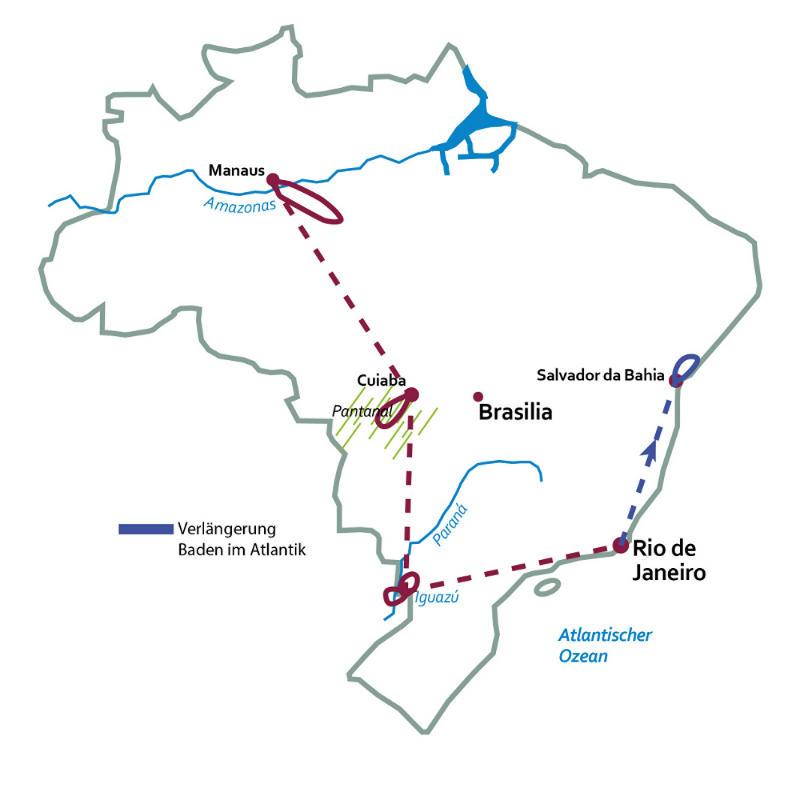 Brasilien: Karte und Tourenverlauf Rundreise Amazonas, Pantanal, Rio