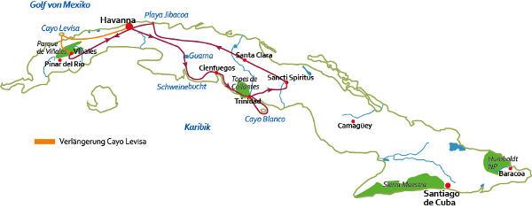 Kuba: Karte und Tourenverlauf Kolonialstädte, Musik & Revolution