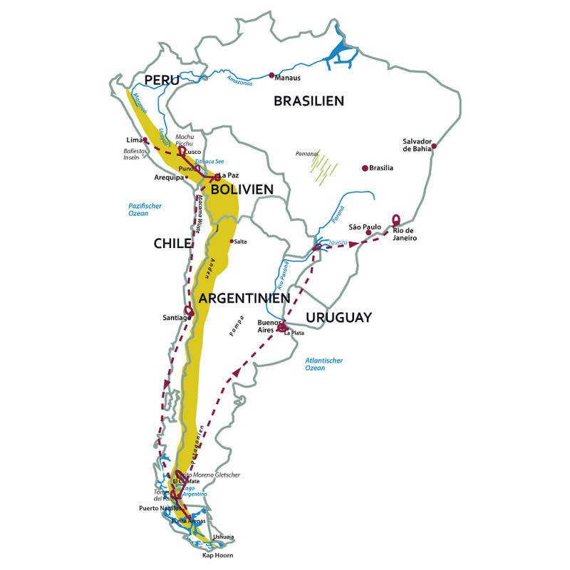 """Brasilien: Karte und Tourenverlauf """"Große"""" Südamerika-Rundreise"""