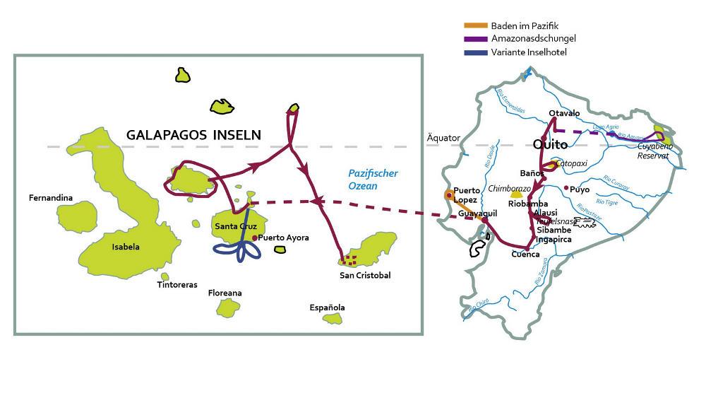Ecuador: Karte und Tourenverlauf Anden-Rundreise und Kreuzfahrt Galapagos