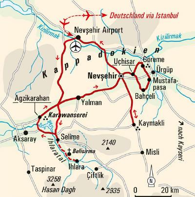 Jordanien: Karte und Tourenverlauf Wanderreise Kappadokien