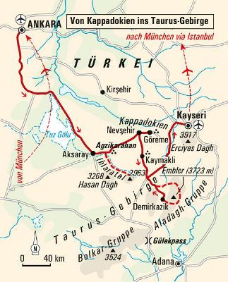 Russland (Asien): Karte und Tourenverlauf Trekking im Taurus