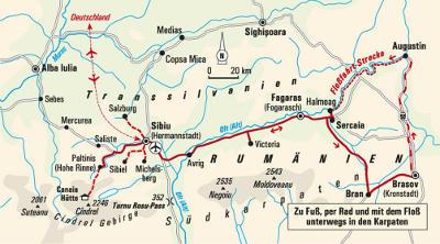 Italien: Karte und Tourenverlauf Floßfahrt, Wanderungen und Radtour in Siebenbürgen