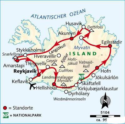 Island: Karte und Tourenverlauf Gletscher und Vulkane