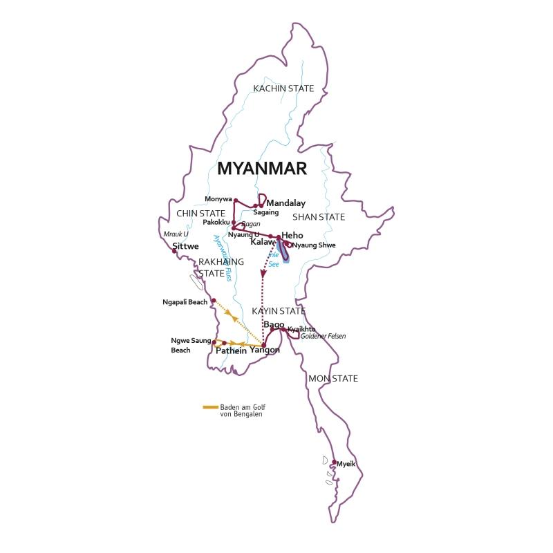 Myanmar: Karte und Tourenverlauf Kulturreise Myanmar