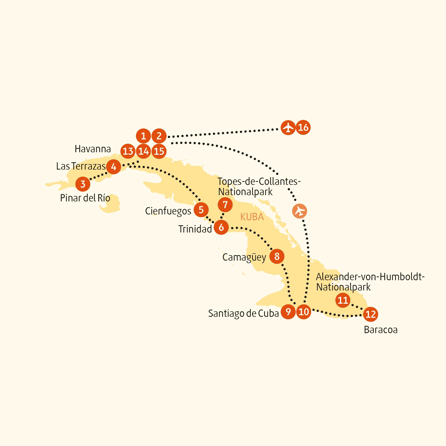 : Karte und Tourenverlauf Privatreise Kuba