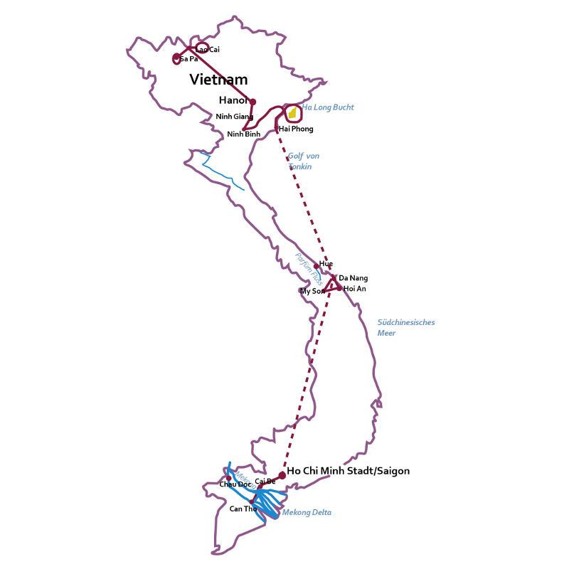 Vietnam: Karte und Tourenverlauf Kleine Vietnam-Rundreise
