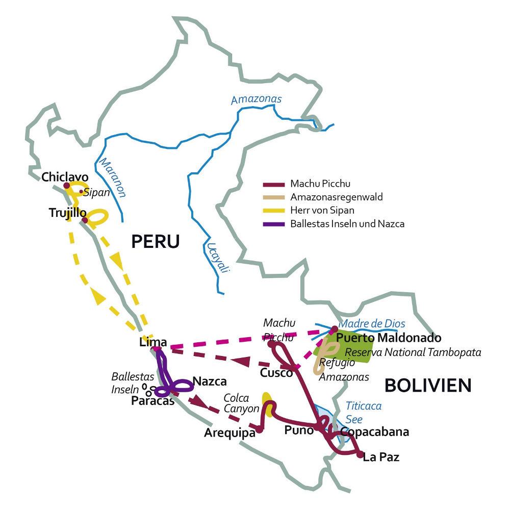 Peru: Karte und Tourenverlauf Andengipfel und Amazonas-Regenwald
