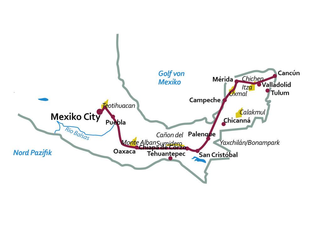 Belize: Karte und Tourenverlauf Kultur-Rundreise Zentral-Mexiko