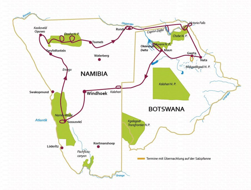 Botswana: Karte und Tourenverlauf Kaokoveld, Etosha NP, Caprivi und Okavangodelta
