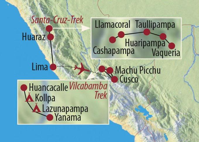 Peru: Karte und Tourenverlauf Anden-Trekking