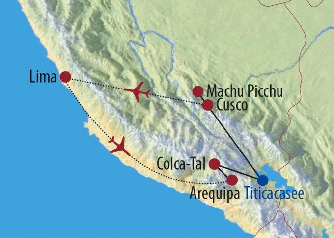 Peru: Karte und Tourenverlauf Rundreise zu den Höhepunkten