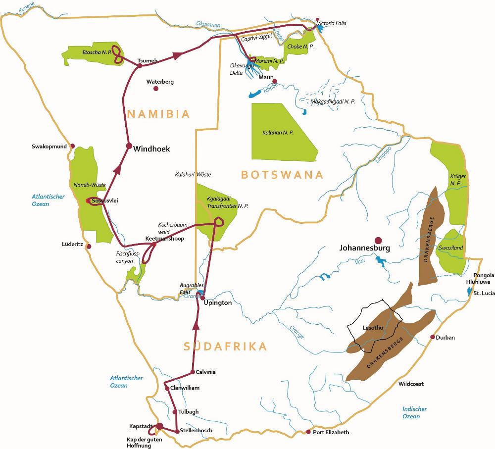 Südafrika: Karte und Tourenverlauf Kapstadt – Namibia – Victoriafälle