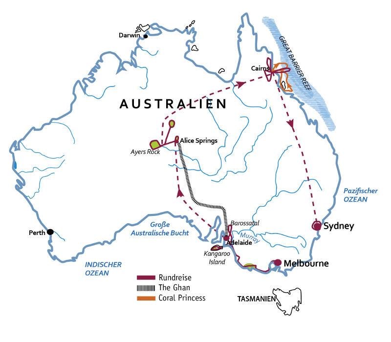 Australien: Karte und Tourenverlauf Australien-Rundreise Natur & Kultur