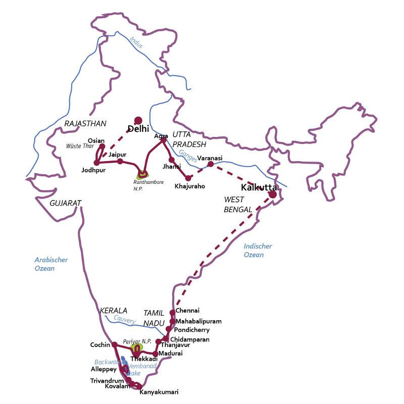 Indien: Karte und Tourenverlauf Rundreise durch den indischen Subkontinent