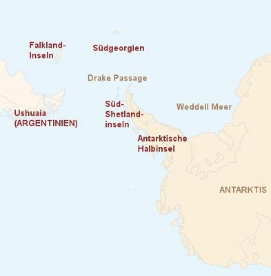 Antarktis: Karte und Tourenverlauf Antarktis – Falkland-Inseln – Südgeorgien