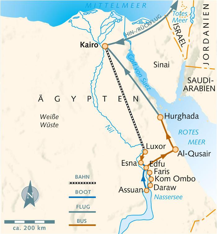 : Karte und Tourenverlauf Segel-Kreuzfahrt auf dem Nil und Pharaonen-Schätze