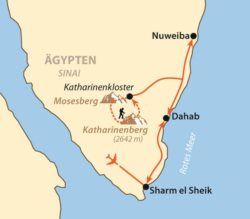 Oman: Karte und Tourenverlauf Sinai – Kameltrekking und Wandern in Ägypten