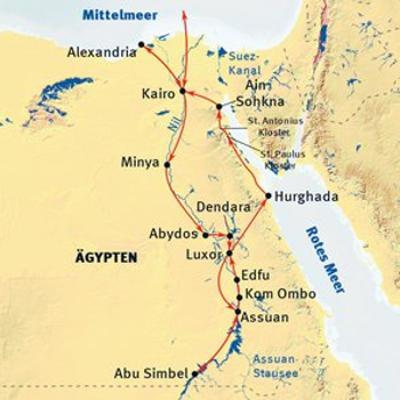 Ägypten: Karte und Tourenverlauf Kultur-Rundreise Ägypten