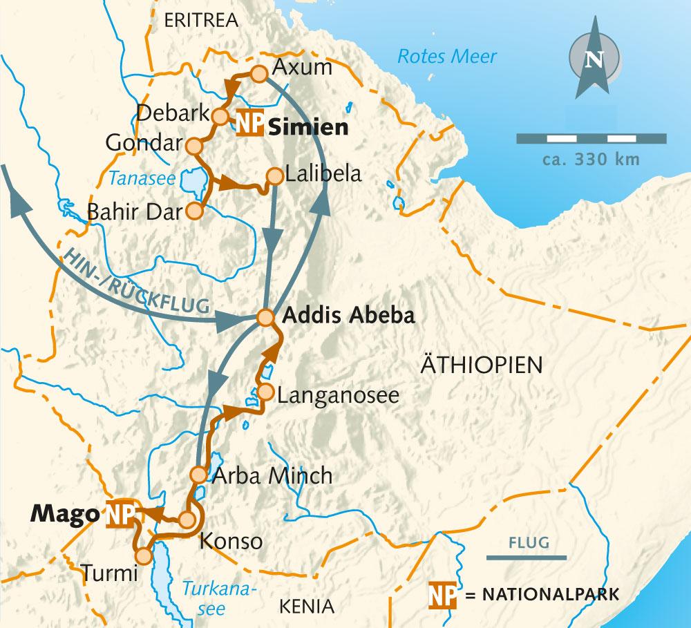Äthiopien: Karte und Tourenverlauf Rundreise zu den Höhepunkten Äthiopiens