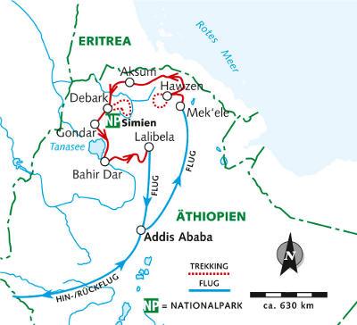 : Karte und Tourenverlauf Simien-Berge und Gheralta