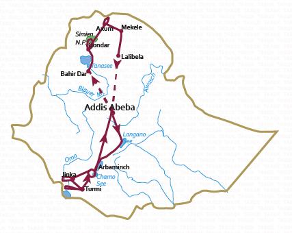 Äthiopien: Karte und Tourenverlauf Rundreise zu den Höhepunkten Nord- und Süd-Äthiopiens