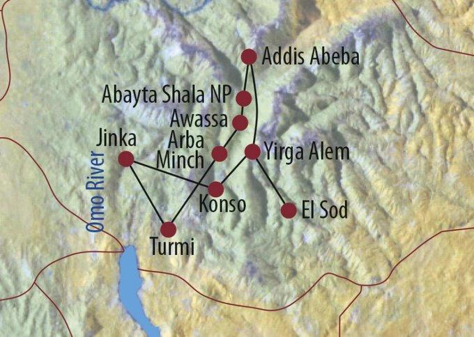 Äthiopien: Karte und Tourenverlauf Zu den Völkern im Südwesten und Omo Nationalpark