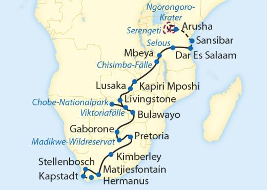 Namibia: Karte und Tourenverlauf Rovos Rail Südafrika – Tansania