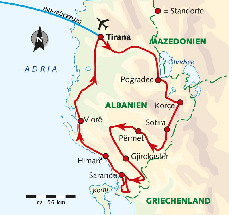 Südafrika: Karte und Tourenverlauf Fahrradreise Balkan