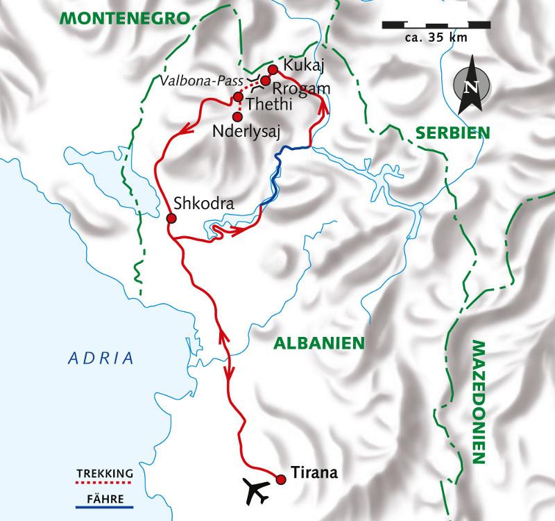 Frankreich: Karte und Tourenverlauf Trekking-Rundreise Albanien