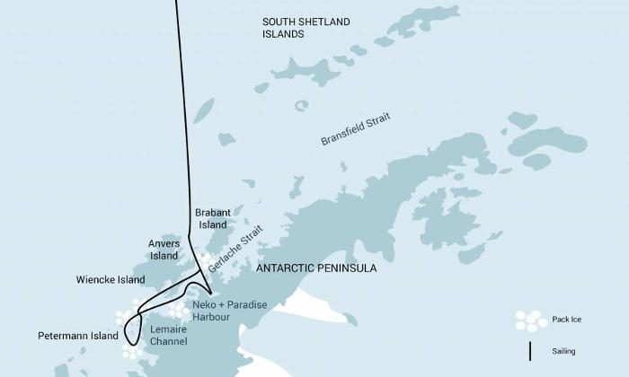 Island: Karte und Tourenverlauf Aktivreise Antarktis Basecamp