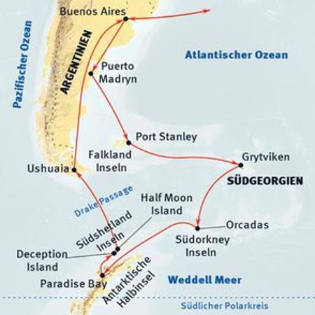 Antarktis: Karte und Tourenverlauf Süd-Shetland Inseln und Pinguine