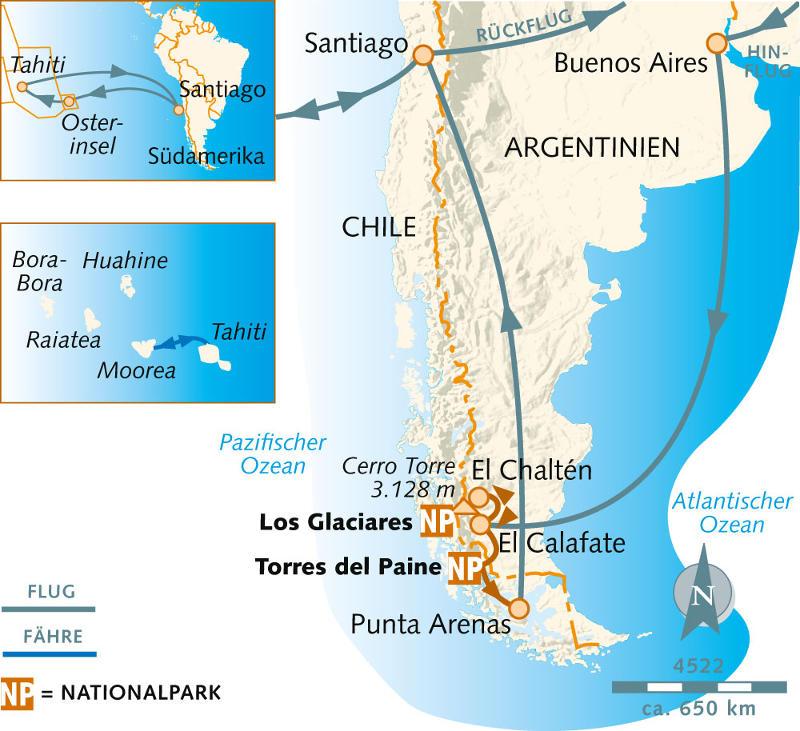 Französisch Polynesien: Karte und Tourenverlauf Patagonien-Wanderungen, Osterinsel und Tahiti