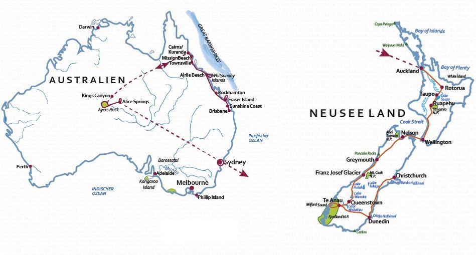 Australien: Karte und Tourenverlauf Kombinationsreise Australien und Neuseeland