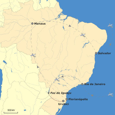 Kuba: Karte und Tourenverlauf Aktivreise Brasilien