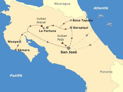 Brasilien: Karte und Tourenverlauf Aktivreise Vulkane, Dschungel und Strände