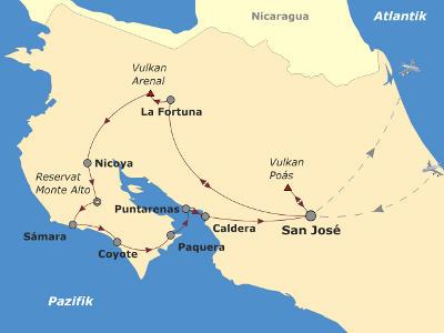 Brasilien: Karte und Tourenverlauf Fahrradtour Costa Rica