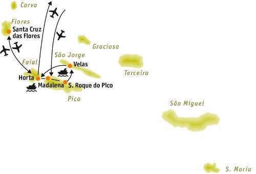 Azoren: Karte und Tourenverlauf Wandern, Wale und Vulkane