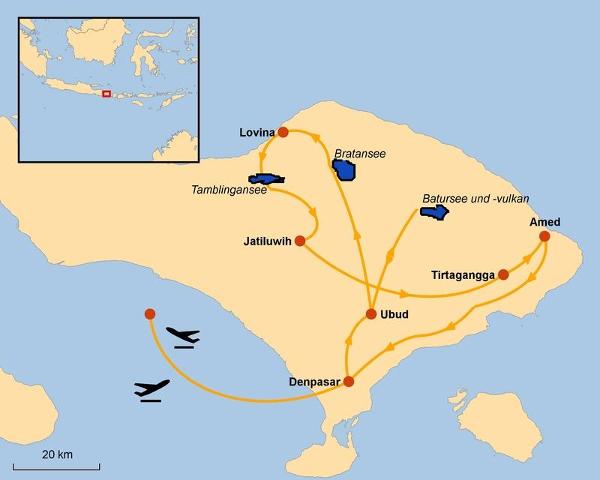 Indonesien: Karte und Tourenverlauf Bali-Reise