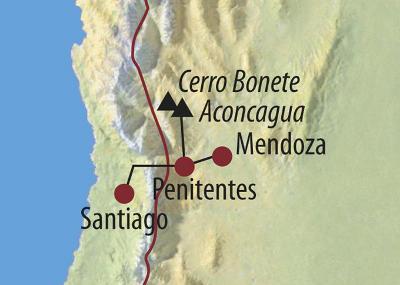 Ecuador: Karte und Tourenverlauf Aconcagua