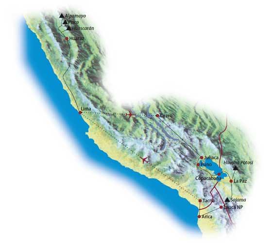 Ecuador: Karte und Tourenverlauf Huascaran
