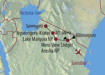 Kenia: Karte und Tourenverlauf Mt. Meru – Kilimanjaro – Safari – Sansibar