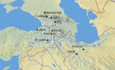 Argentinien: Karte und Tourenverlauf Ararat – Kasbek – Elbrus