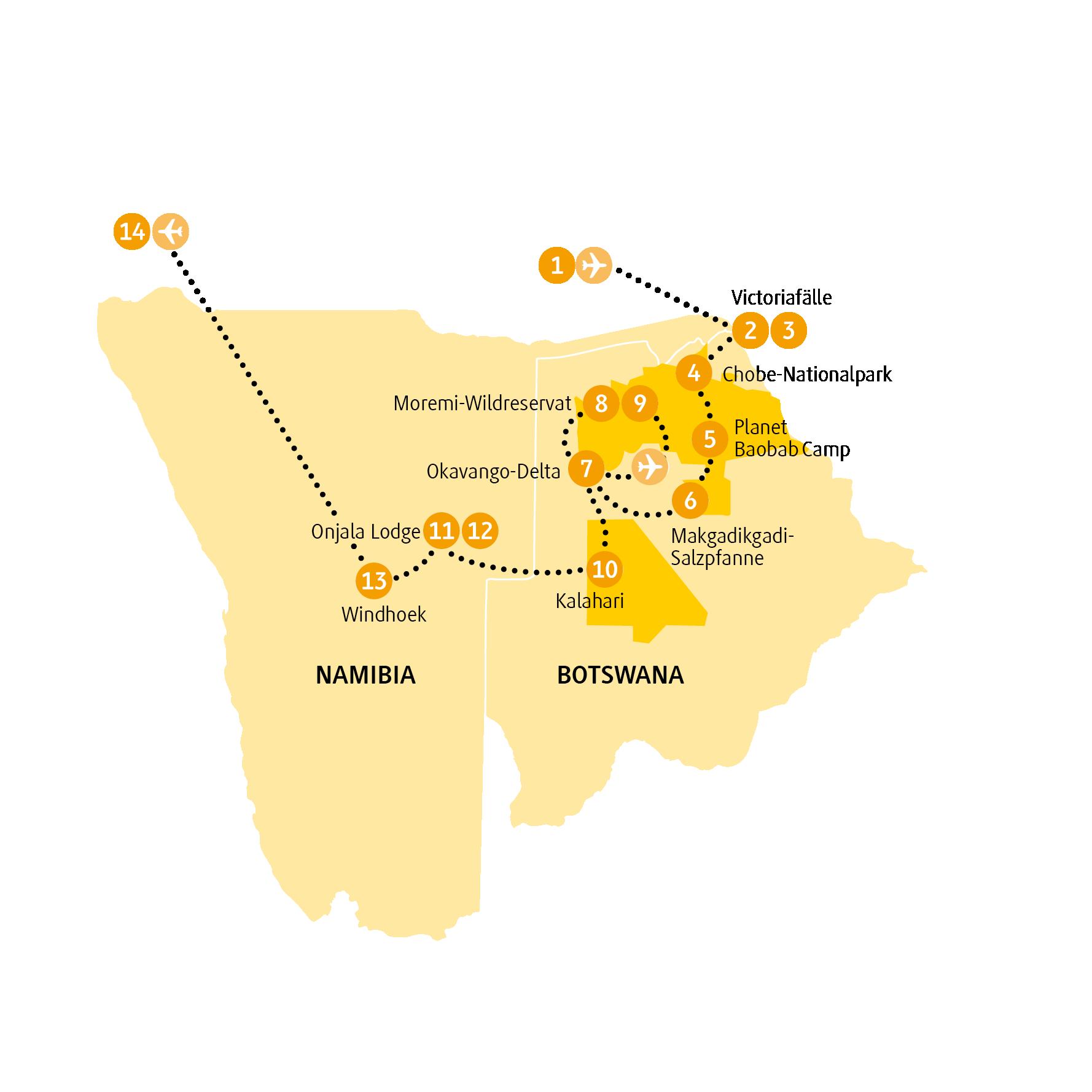 Namibia: Karte und Tourenverlauf Kalahari und Victoria-Fälle
