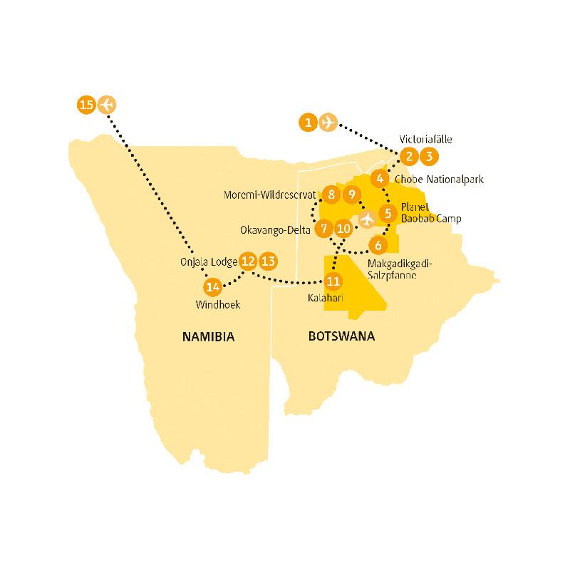 Botswana: Karte und Tourenverlauf Kalahari und Victoria-Fälle