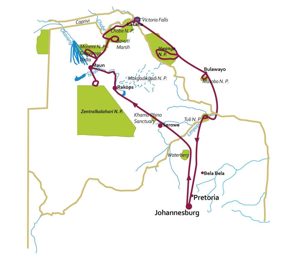 Botswana: Karte und Tourenverlauf Kalahari – Okavango – Viktoria Falls – Simbabwe