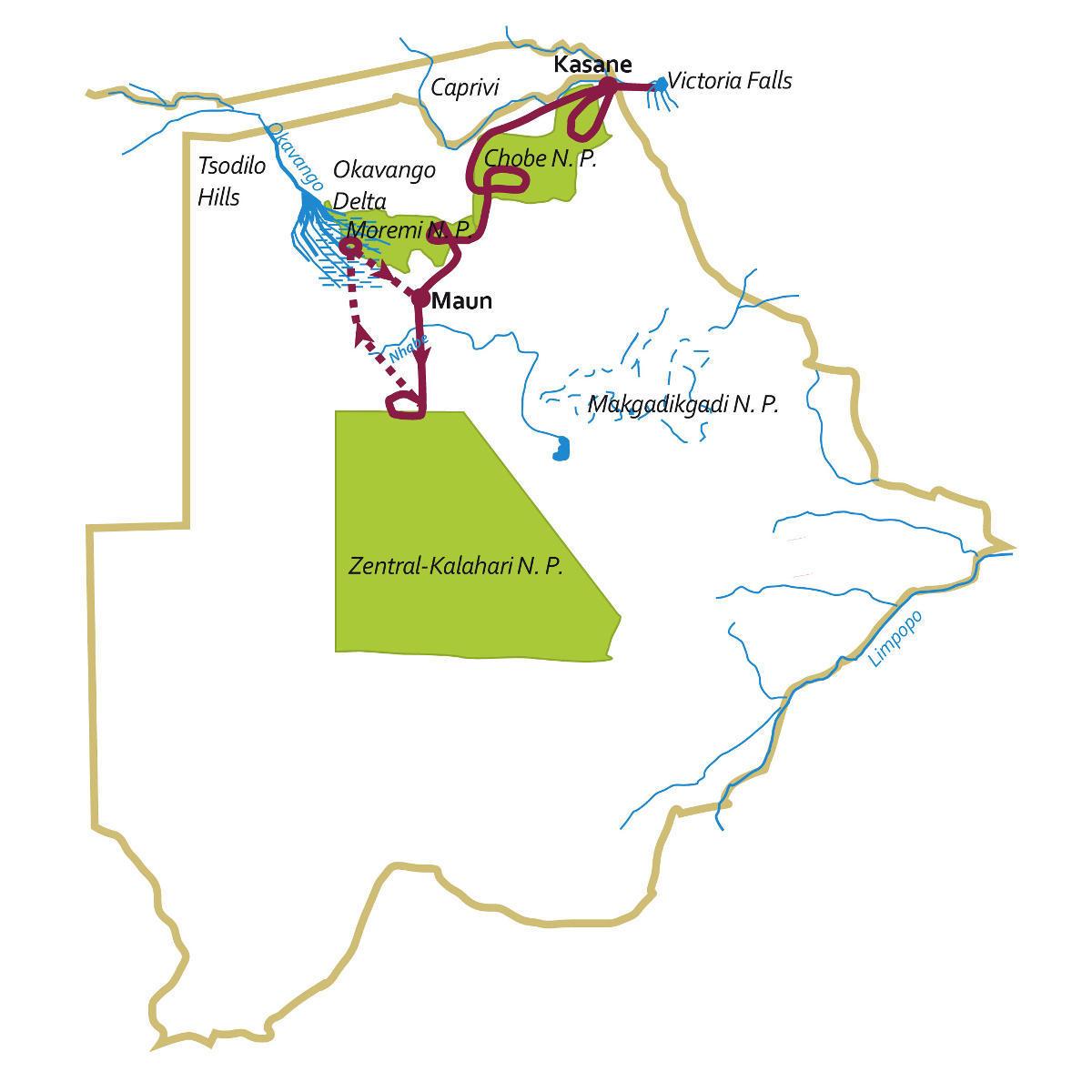 """Botswana: Karte und Tourenverlauf Safari-Rundreise """"exklusiv"""""""