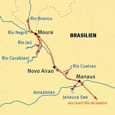 Bolivien: Karte und Tourenverlauf Amazonas-Kreuzfahrt